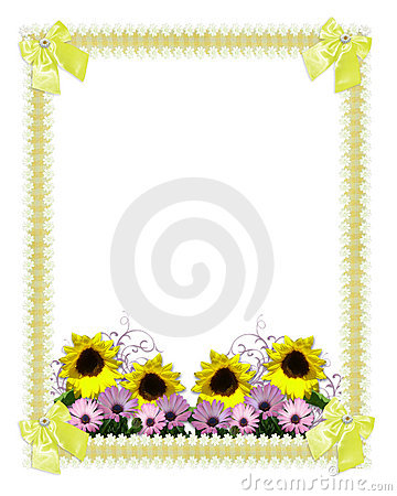Floral border springtime sunflowers