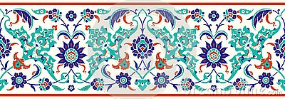 Floral border for your design. Traditional Turkish � Ottoman seamless ornament. Iznik. Vector Illustration
