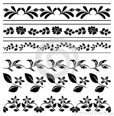 Floral borders - black tracery - vector