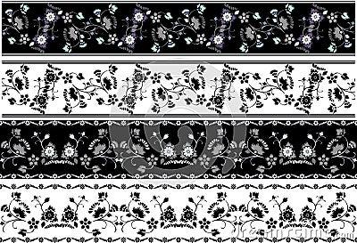 Floral borders stencil set