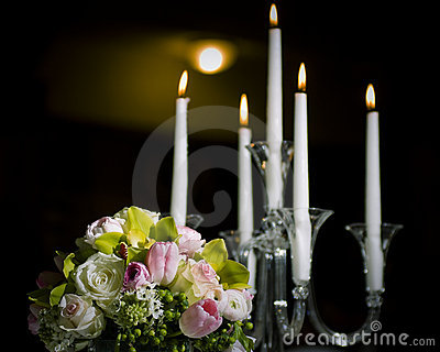Floral bouquet and candles