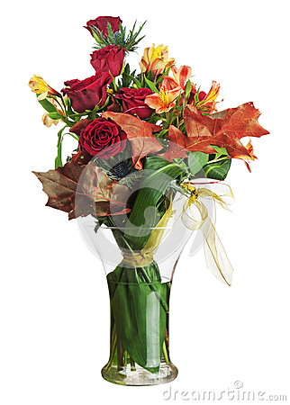 Floral bouquet of roses and lilies isolated on white background.