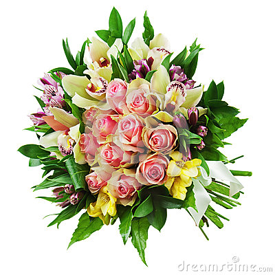 Floral bouquet of roses, lilies and orchids arrangement centerpi