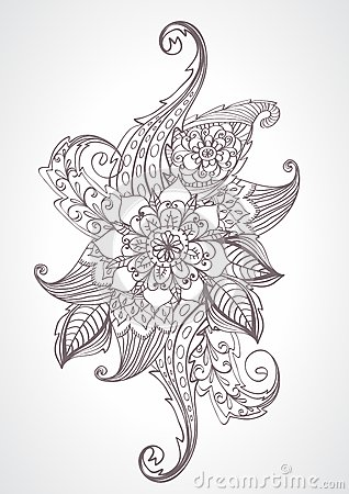 Floral bright doodle illustration