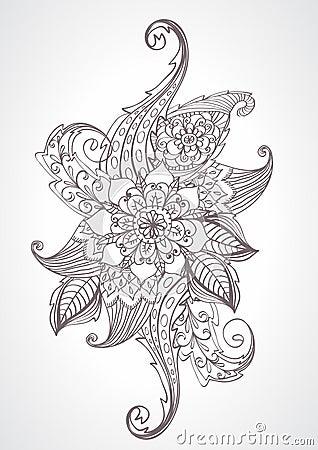 Floral bright doodle illustration