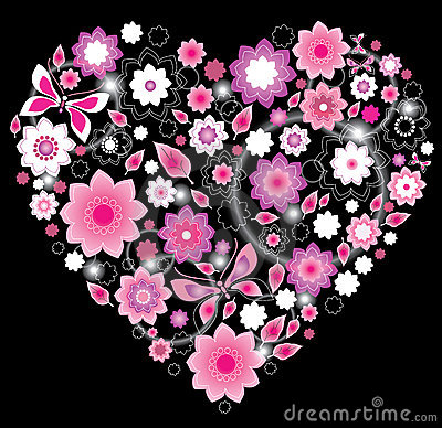 Floral bright pink Heart