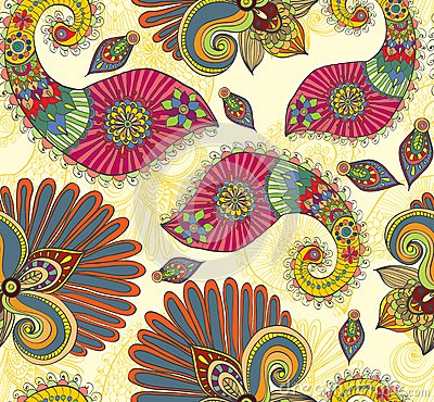 Floral bright seamless pattern with paisley
