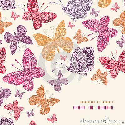 Floral butterflies corner decor pattern background