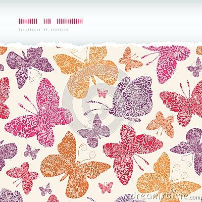 Floral butterflies frame horizontal seamless