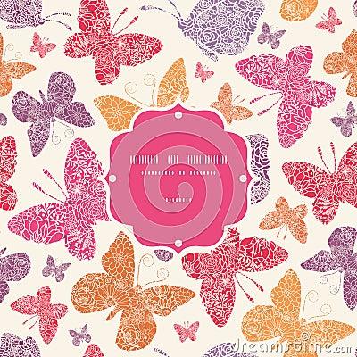 Floral butterflies frame seamless pattern