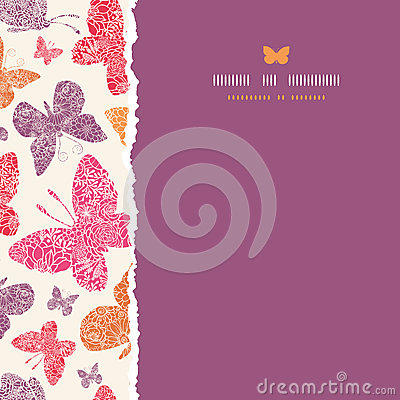 Floral butterflies frame square seamless pattern