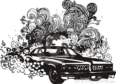 Floral car illustration