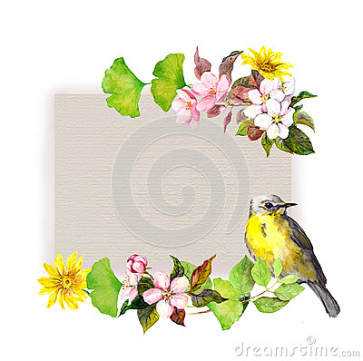 Free Floral Card - Flowers And Pretty Bird At Paper Texture. Watercolor Pattern Stock Image - 96911981