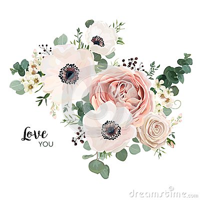 Free Floral Card Vector Design: Garden Flower Lavender Pink Peach Ros Royalty Free Stock Images - 107292809
