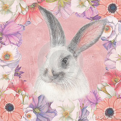 Free Floral Card With Fluffy Bunny Royalty Free Stock Image - 59212546