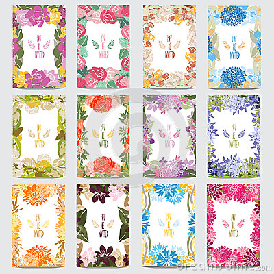 Free Floral Cards Set Stock Photo - 44065920
