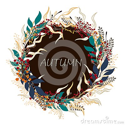 Free Floral Circle Background. Round Autumn Illustration With Leaves, Herbs And Berries. Royalty Free Stock Photography - 124006257