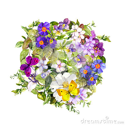 Free Floral Circle - Wild Herb, Flowers, Butterflies. Watercolor Background Stock Image - 77879201