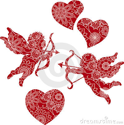 Floral Cupids and Hearts.