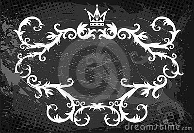 Floral curls with crown above
