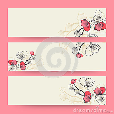 Free Floral Decorated Web Banner Or Header Design. Stock Photos - 56317133