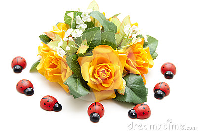 Floral decoration with ladybug