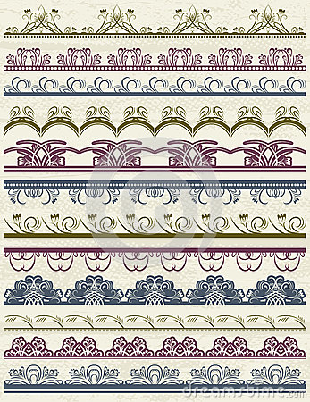 Floral decorative borders, ornamental rules, divid