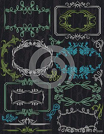 Floral decorative borders, ornamental rules, divid