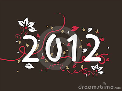 Floral design 2012 text,  for new year