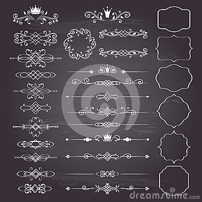 Free Floral Design Elements Huge Set, Ornamental Vintage Frames With Crowns In White. Stock Photo - 45253790