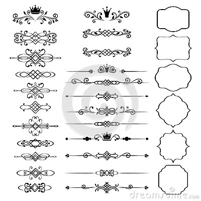 Free Floral Design Elements Set, Ornamental Vintage Frames With Crowns Stock Photography - 41745692