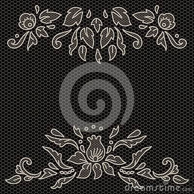 Free Floral Design On Lace Fabric In Black And White, Vector Frame Stock Image - 104845151
