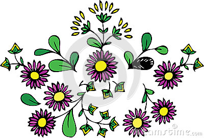 Floral Design Pattern - Purple Flowers And Leaves Stock Photo - Image: 24802200