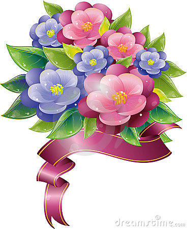 Floral design with violet and ribbon