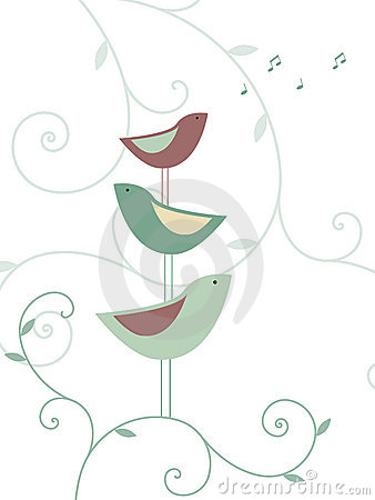 Free Floral Design With Birds Royalty Free Stock Images - 7185719