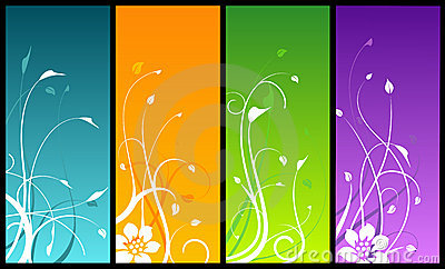 Floral designs on colored backgrounds