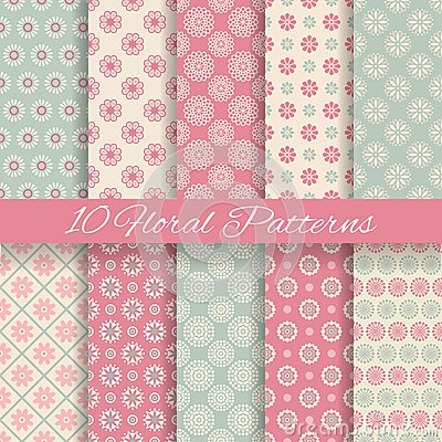 Free Floral Different Vector Seamless Patterns Royalty Free Stock Photos - 37432728
