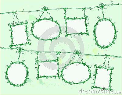 Floral doodle frames,vector
