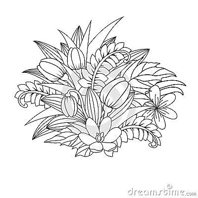 Floral doodle. Vector illustration zentangl. Meditative exercises. Coloring book anti stress Vector Illustration