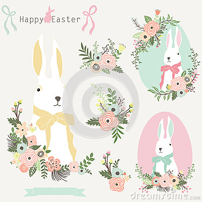 Free Floral Easter Bunny Stock Image - 67158551