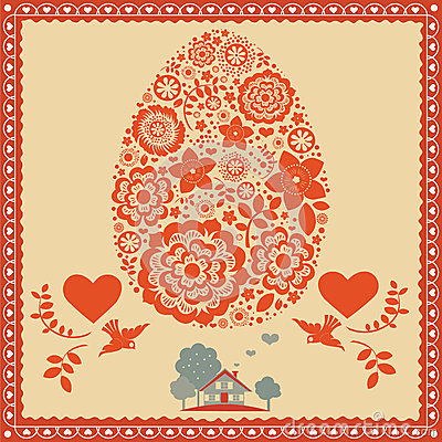 Floral Easter egg greeting post card