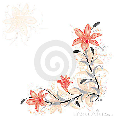 Free Floral Element For Design With Lily, Vector Stock Images - 1568904