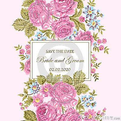 Floral embroidery wedding invitation. Vector Illustration