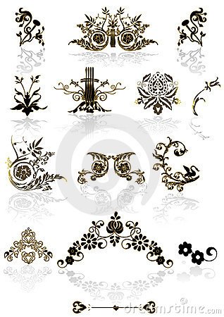 Free Floral Frame Elements - Vintage Vector Royalty Free Stock Photography - 5226257