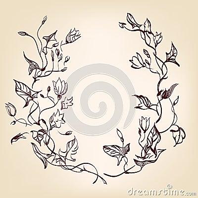 Floral frame  hand drawn vintage