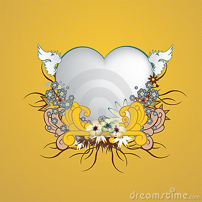 Floral frame with heart shape