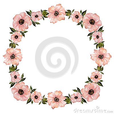 Free Floral Frame Illustration. Beautiful Pink Flowers With Green Leaves. Round Pattern On White Background With Space For Your Text. Stock Photo - 111978590