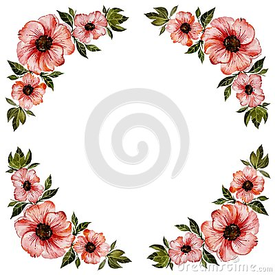 Free Floral Frame Illustration. Beautiful Red Flowers With Green Leaves. Round Pattern On White Background With Space For Your Text. Royalty Free Stock Image - 111978646