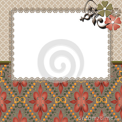 Floral frame lace beige background