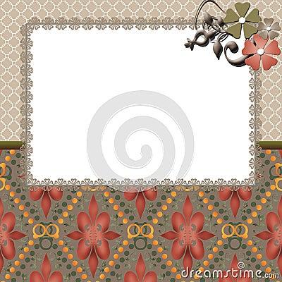 Floral frame lace beige background